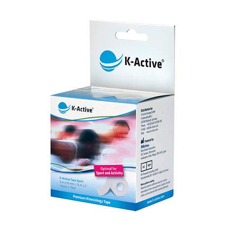 Кинезио тейп K-active Sport, белый, 5м*5см, фото 2