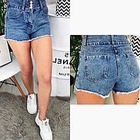 Женские стильные джинсовые шорты с бахромой, фото 1