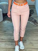 Женские стильные укороченые джинсы с поясом, фото 1