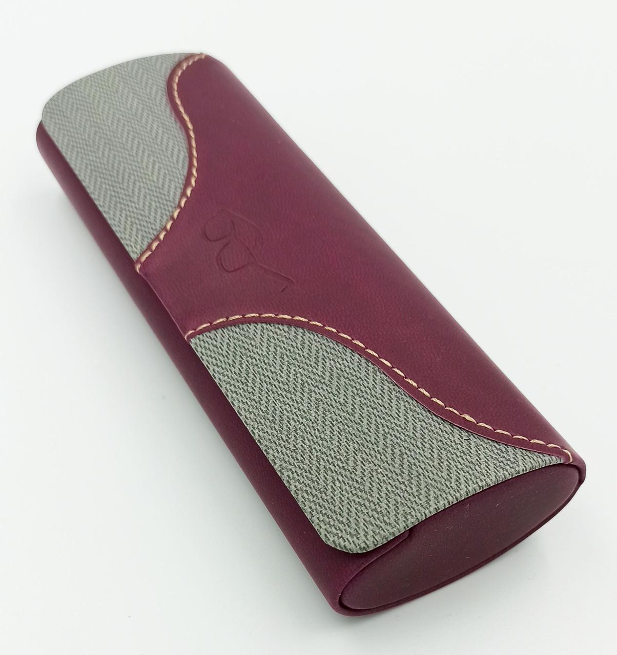 Футляр для очков из пресс кожи на магните, бордовый с серыми вставками, чехол для очков