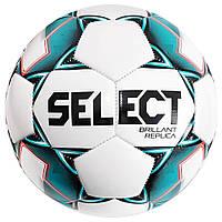 Мяч футбольный SELECT Brillant Replica (317) бел/зел, размер 5