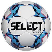 Мяч футбольный SELECT Brillant Replica (318) бел/гол, размер 4