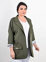 Пиджак женский большого размера весна-лето,цвет хаки 50-52,54-56,58-60,62-64