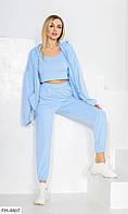 Спортивний костюм трійка жіночий штани і кофта на блискавці з топом р-ри 42-48 арт. 784, фото 1