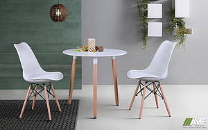 Обеденный комплект круглый стол Trio + белые стулья Aster White Wood