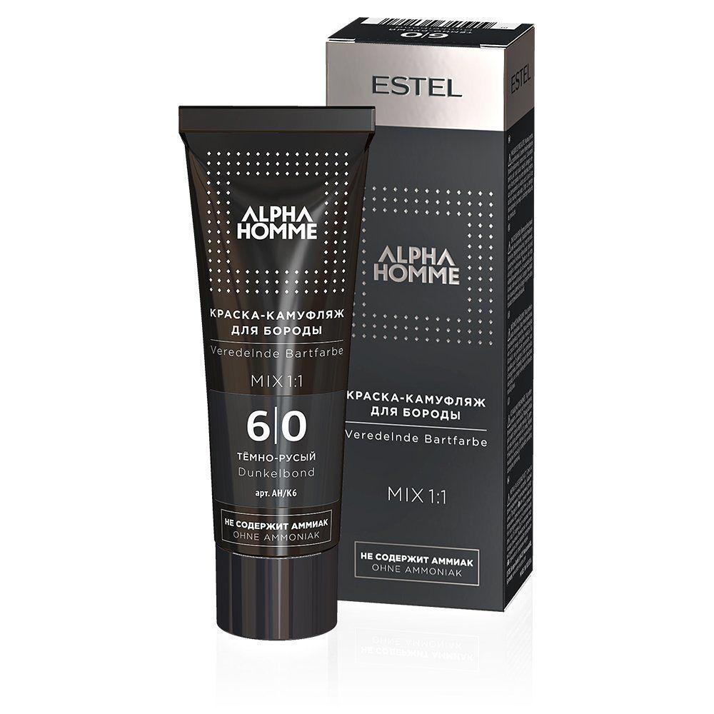 Фарба-камуфляж для бороди ESTEL ALPHA HOMME 6/0, темно русявий, 40 мл уцінка! Упаковка пошкоджена незначно
