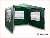 Садовый павильон шатер летний со стенками и большими окнами для сада дачи большой тент уличный зеленый Plonos