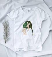 Футболка женская белая с модным принтом. Женская футболка белого цвета с принтом. , фото 1