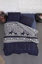 Комплект постельного белья из фланели евро размер ТМ First Choice Happyness Navy Blue