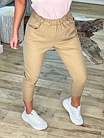 Женские стильные укороченные брюки с поясом на резинке, фото 1