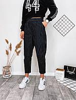 Женские стильные укороченные брюки в полоску, фото 1