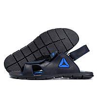 Мужские кожаные сандалии  Reebok NS blue (реплика)