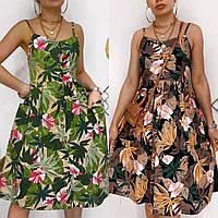 Женский стильный сарафан на пуговицах с накладными карманами, фото 1