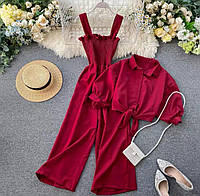 Женский стильный костюм: рубашка и комбинезон на бретелях, фото 1