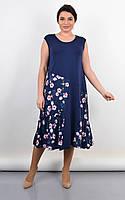 Летнее трикотажное платье-сарафан большие размеры,темно-синее 50-52,54-56,58-60,62-64