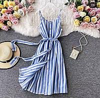 Женский стильный сарафан на пуговицах с карманами, фото 1