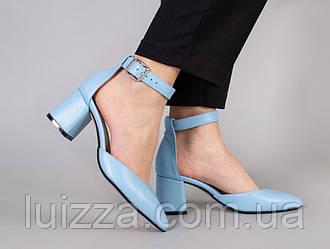 Босоножки женские кожаные голубого цвета