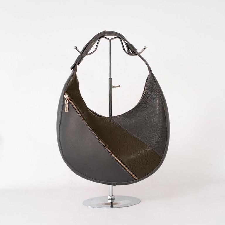 Женская серая сумка K89-20/2 багет с одной ручкой на плечо
