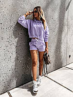 Женский стильный костюм: шорты и худи с капюшоном, фото 1