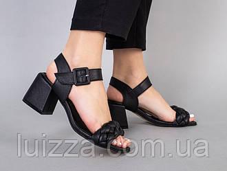 Босоножки женские кожаные черные на каблуке 5.5 см