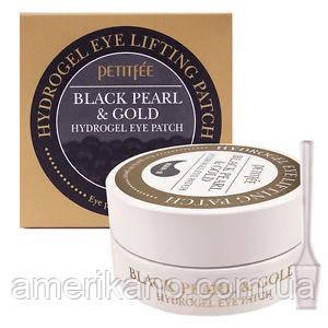 Гідрогелеві патчі для очей з золотом і чорним перлами PETITFEE Black Pearl & Gold Hydrogel Eye Patch, 60 шт