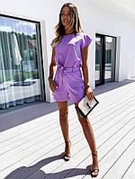 Жіночий стильний костюм: шорти та футболка з вирізом на спині, фото 1