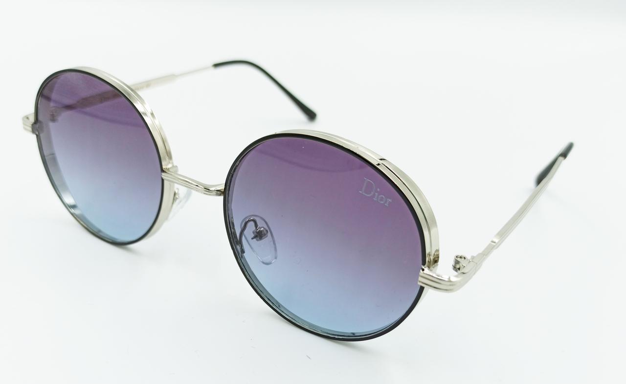 Очки солнцезащитные, круглые, с сиренево-голубой градиентной линзой, унисекс