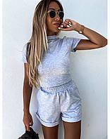 Жіночий стильний костюм футболка-топ і шорти, фото 1