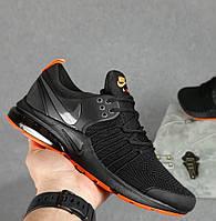 Мужские кроссовки Nike Air Presto чёрные с оранжевым на балоне весна-лето осень. Живое фото. Реплика