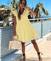 Желтое  платье из прошвы до колена Размеры:42-44,46-48,50-52,54-56