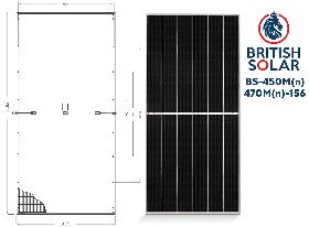 Солнечная панель  British Solar BS-470M(солнечная батарея,фотомодуль,зеленый тариф,солнечная электростанция)