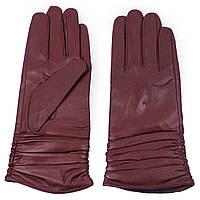 Женские перчатки ( кожаные, зимние, бордовые, на флисе)