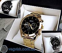 Суперкрутые мужские кварцевые часы BOSS золотой цвет  Чоловічий годинник Лучший подарок