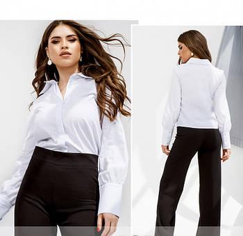 / Размер 42,44,46 / Женская элегантная рубашка классического кроя / 4142-1-Белый
