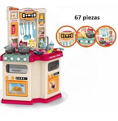 Детская кухня для девочек Kitchen Chef с водой вытяжкой и паром 67 аксессуаров 78 см