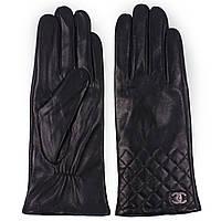 Модные женские перчатки  (зимние, кожаные, черные, на флисе)