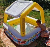 Детский надувной бассейн Домик с навесом 157х157х122 см | Бассейн для детей Intex