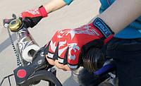 Перчатки велосипедные Sporty беспалые детские спортивные Red