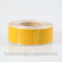 Светоотражающая самоклеящаяся сегментированная лента квадрат Eurs 5х5 см х 45 м Жёлтая (400KDLKM2-YELLOW)