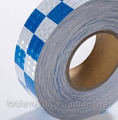 Светоотражающая самоклеящаяся лента шахматка Eurs Сине-Белая 50 м 5 см (CHMT50-BLUE-WHITE)