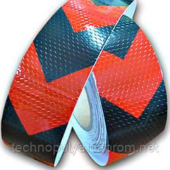 Светоотражающая самоклеящаяся лента стрелка Eurs Красно-Чёрная 50 м 5 см (ARROW2-RED-BLACK)