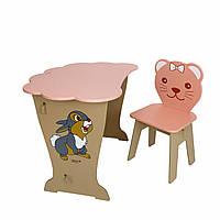 Вау!Детский стол!Стол-парта с крышкой облачко и стульчик фигурный.Подарок!Подойдет для учебы, рисования, игры