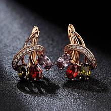 Серьги женские классические нарядные  Разноцветные камни Шанди  / сережки женские / подарок на день рождения