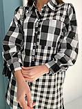 Подовжена сорочка жіноча в клітку коттон р 42-46, 48-52, фото 3