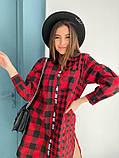 Подовжена сорочка жіноча в клітку коттон р 42-46, 48-52, фото 7