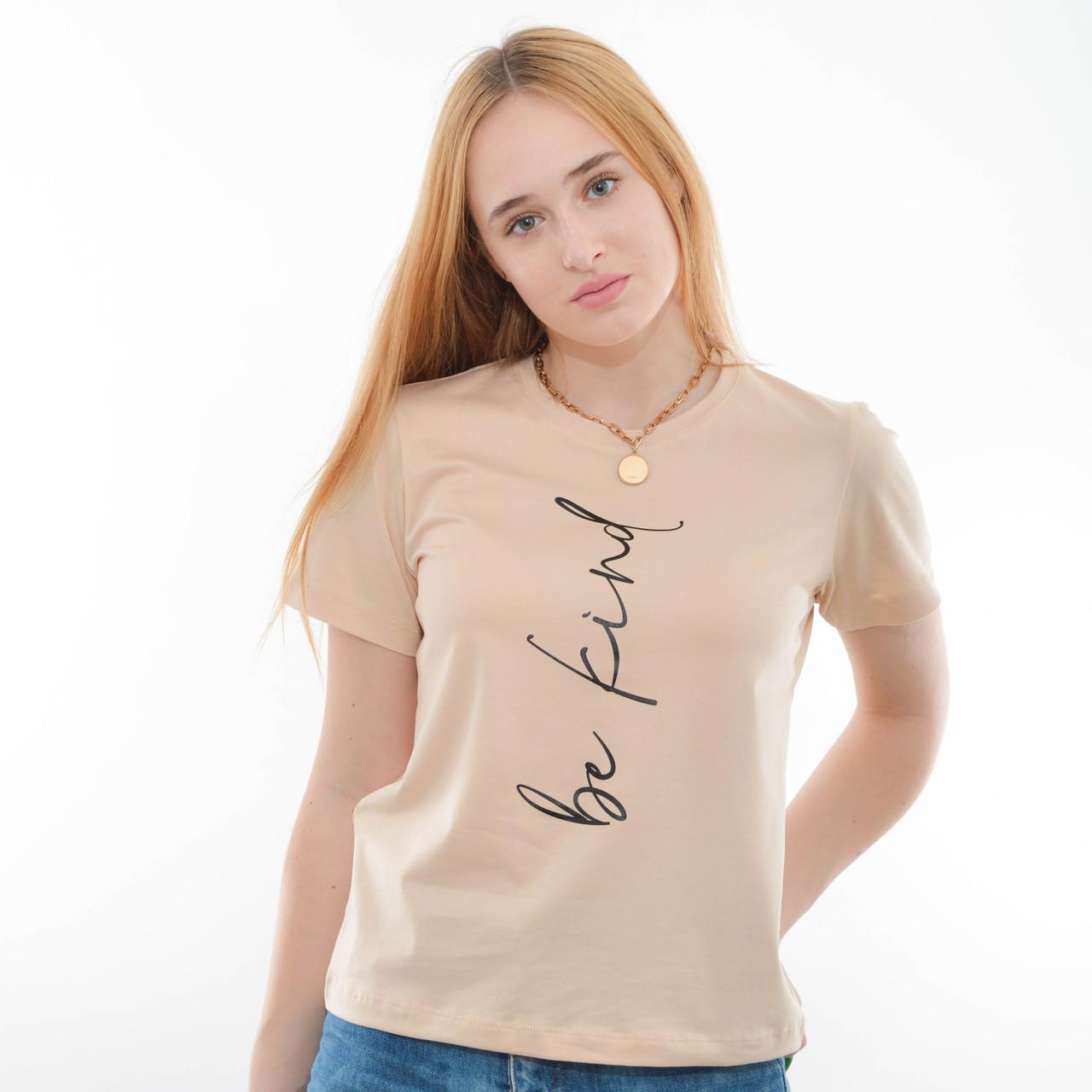 Женская футболка оверсайз оптом OF 202 беж