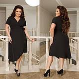 Платье ассиметрическое батальное софт 44-46, 48-50, 52-54, 56-58, фото 2