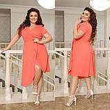 Платье ассиметрическое батальное софт 44-46, 48-50, 52-54, 56-58, фото 3