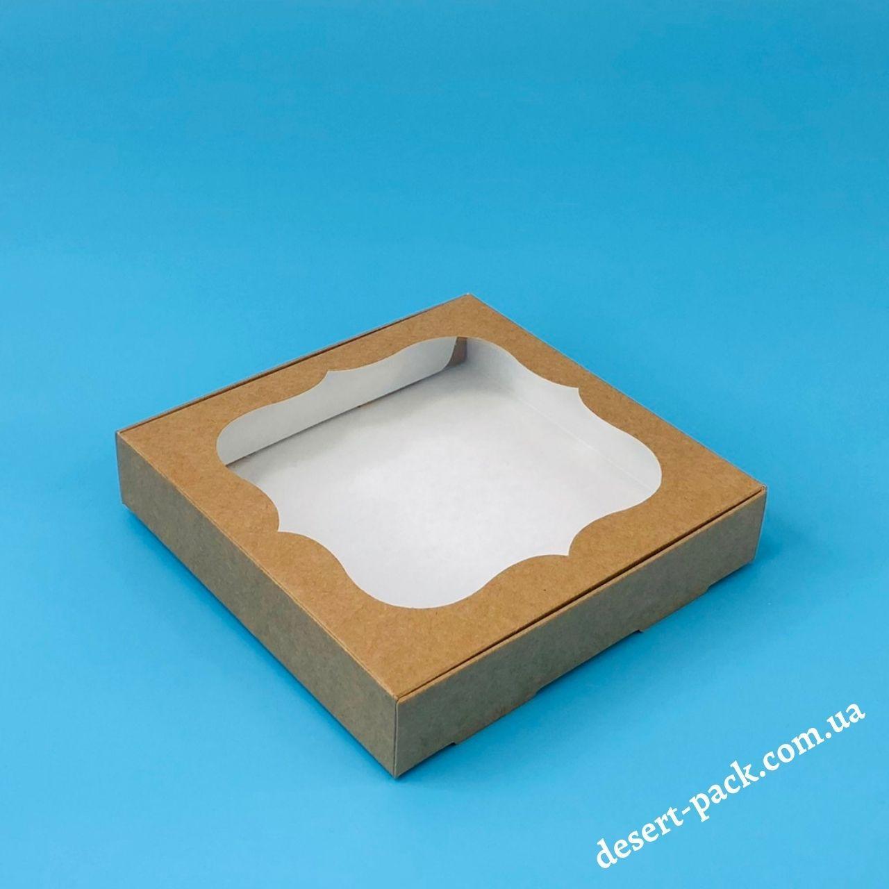 Коробка для пряників, печива 150х150х30 мм (з вікном) крафт