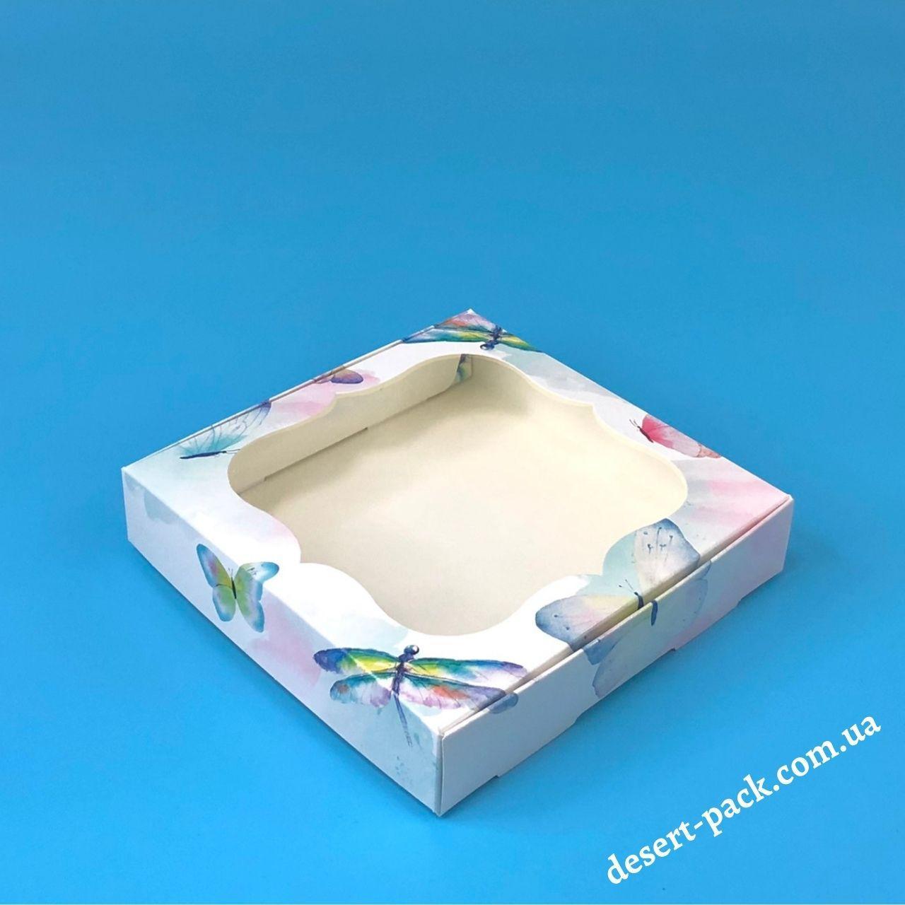 Коробка для пряников, печенья 150х150х30 мм (с окном) Акварель